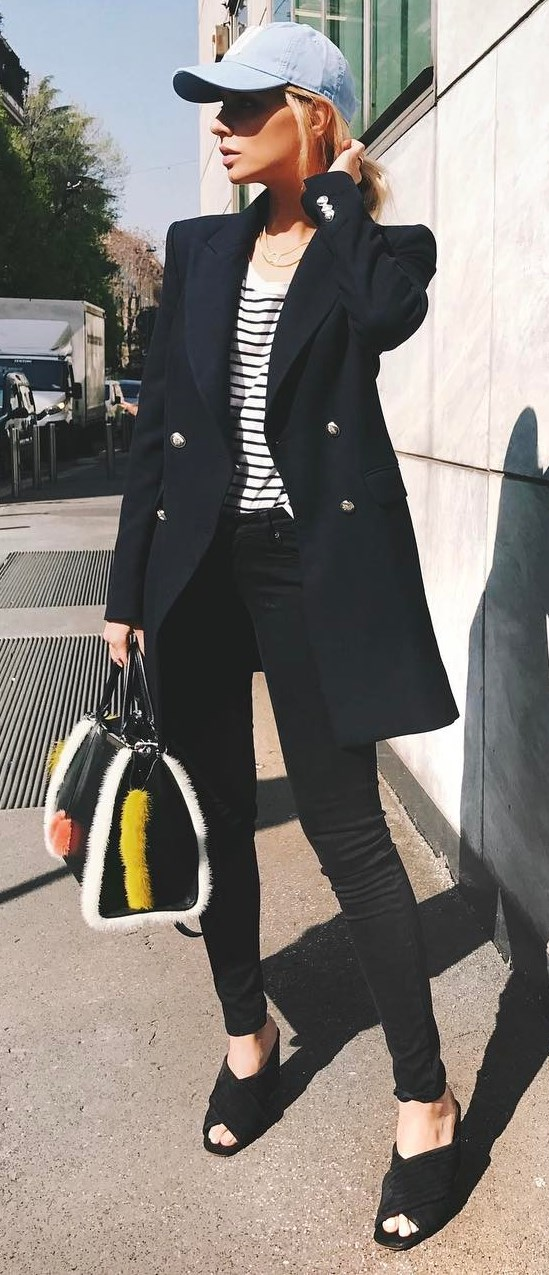 cool casual style outfit / hay + stripped top + blazer + skinnies + bag + heels