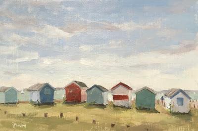 #105 'Beach Huts, Hayling Island 2' 9×12″