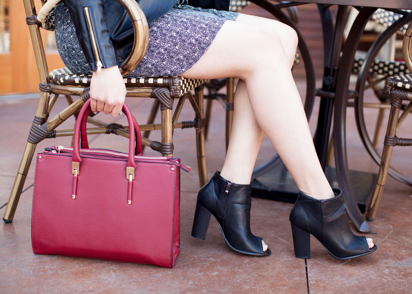 cool accessories for the office, maroon handbag, open toed booties, san diego fashion
