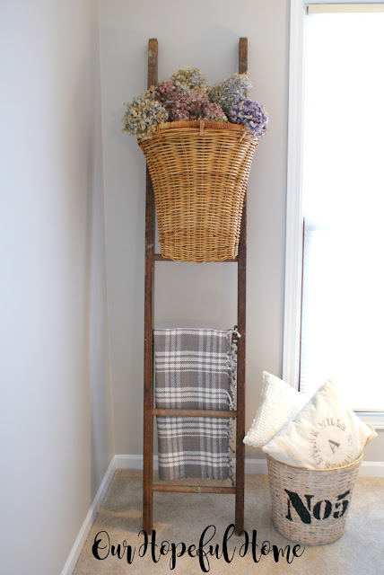 ladder decor blanket basket hydrangeas