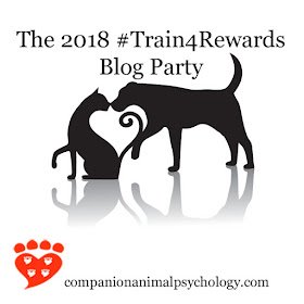 The 2018 Train for Rewards blog party celebrates reward-based training of dogs, cats and other companion animals
