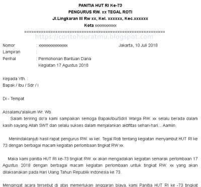 Contoh Surat Permohonan Bantuan Dana Kegiatan 17 Agustus