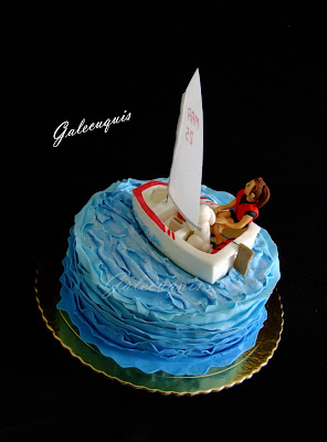 Tarta mar barco vela