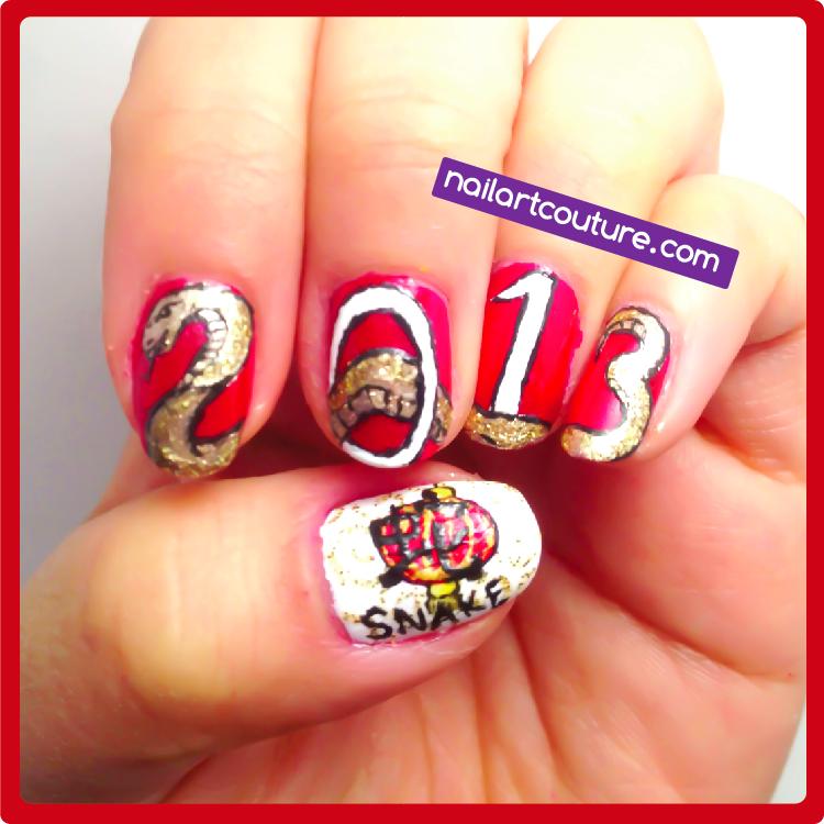 Simple Nail Art For Chinese New Year: Nail Art Couture★ !: Chinese New Year Nails: Snake