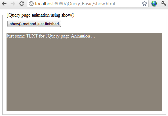 jQuery show effect example