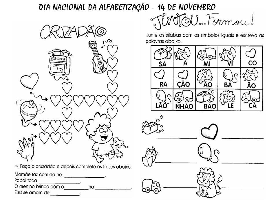 Dia Nacional Da Alfabetização 14 Nov Atividades Exercícios Desenhos