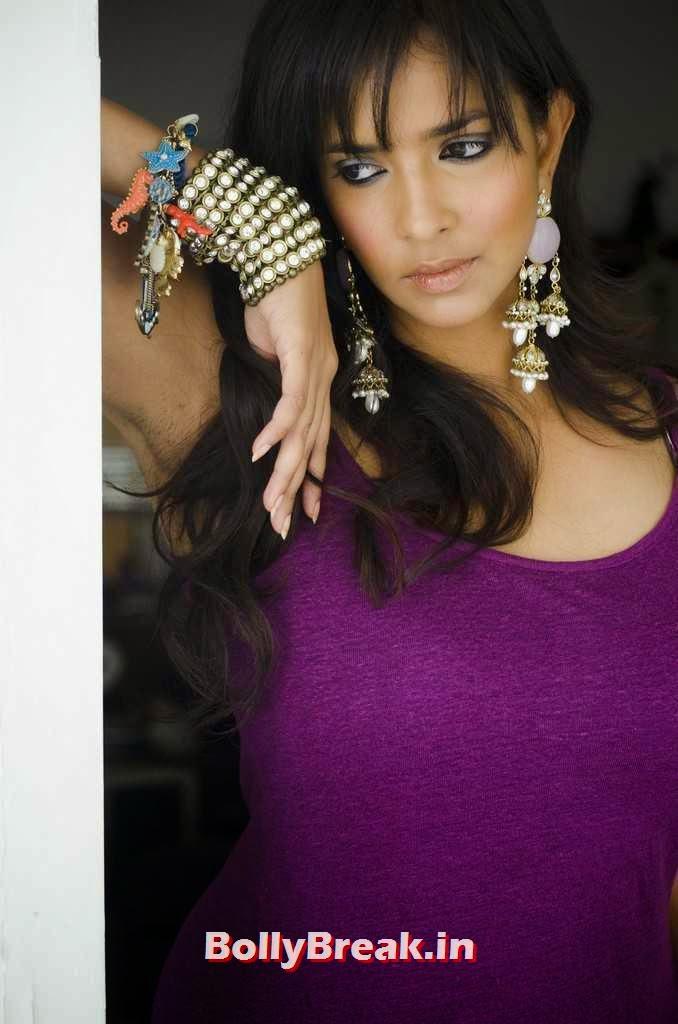 Manchu Lakshmi Latest Stills, Telegu Actress Lakshmi Manchu hot pics in purple dress