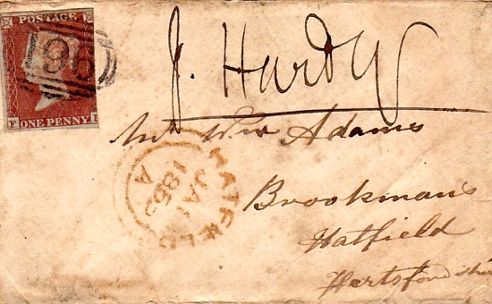 Scan of Letter addressed to Mr William Adams, Brookmans, Hatfield, Hertfordshire. The postage stamp is a Penny Red which was introduced in 1841. The letter was franked in Hatfield on January 15, 1853 Image from the Peter Miller Collection