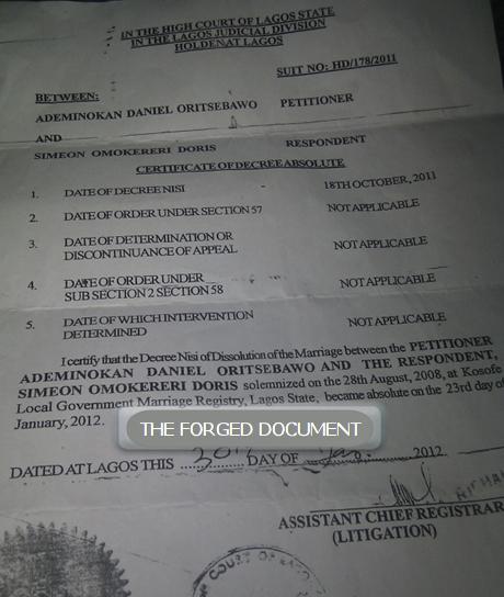 daniel ademinokan fake divorce paper