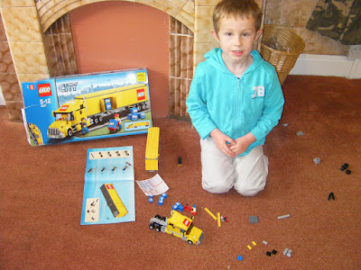 lego yellow truck box and kit