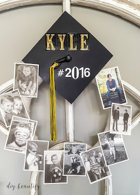 Preserve and display your memories with this easy graduation memory wreath! Find the tutorial at diy beautify!