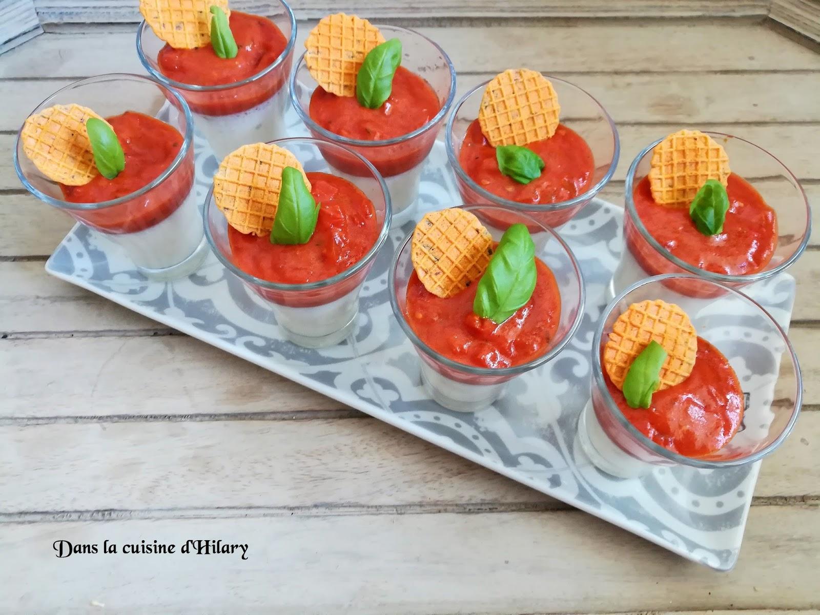 dans la cuisine d 39 hilary panna cotta la mozzarella compot e tomates poivron et basilic. Black Bedroom Furniture Sets. Home Design Ideas