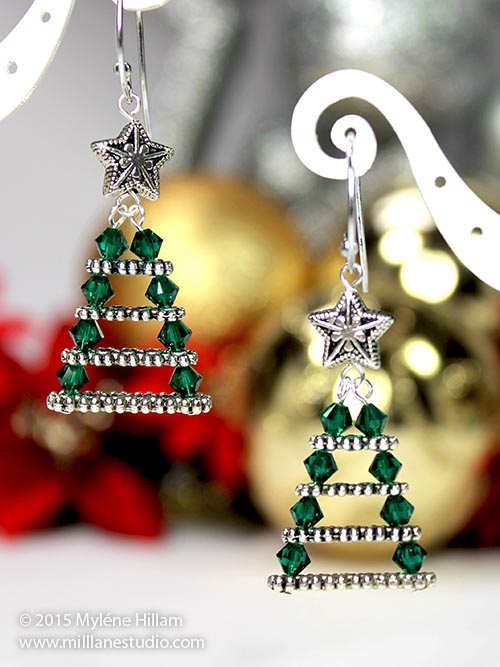 3 Awesome Swarvoski Crystal Christmas Tree Earrings