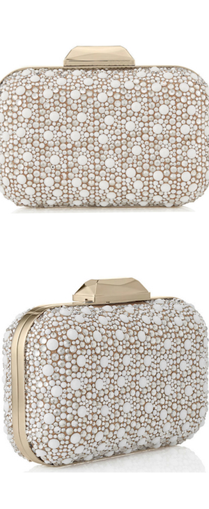 Jimmy Choo White Suede with Crystals Mix Clutch Bag
