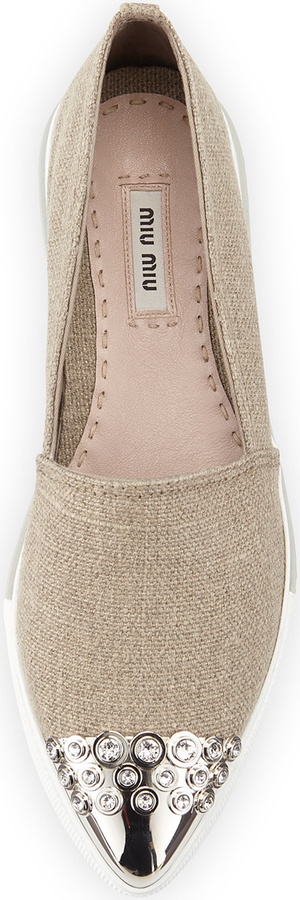 Miu Miu Embellished Cap-Toe Linen Loafer