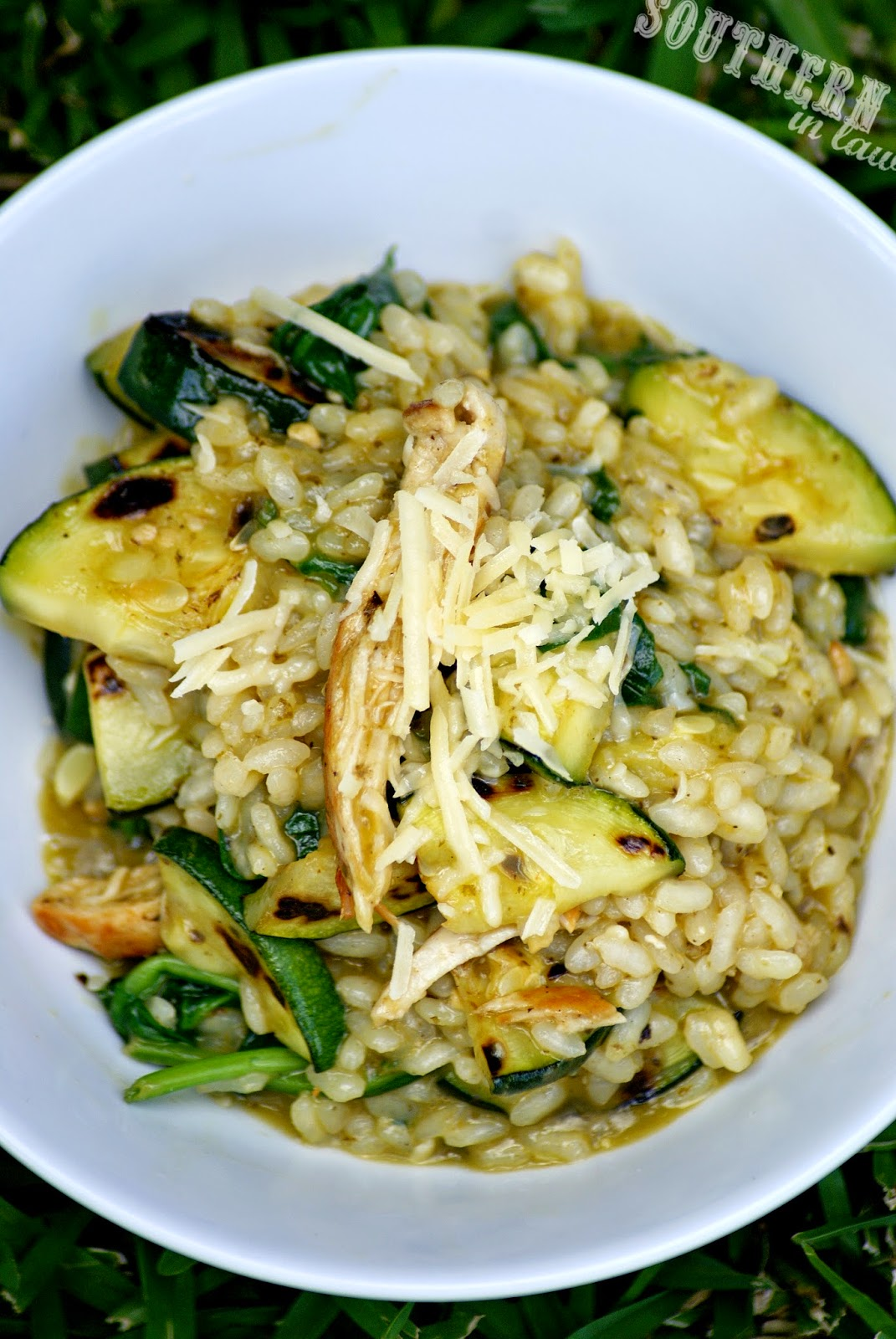 Healthy Chicken and Zucchini Pesto Risotto Recipe - low fat, gluten free, healthy, sugar free