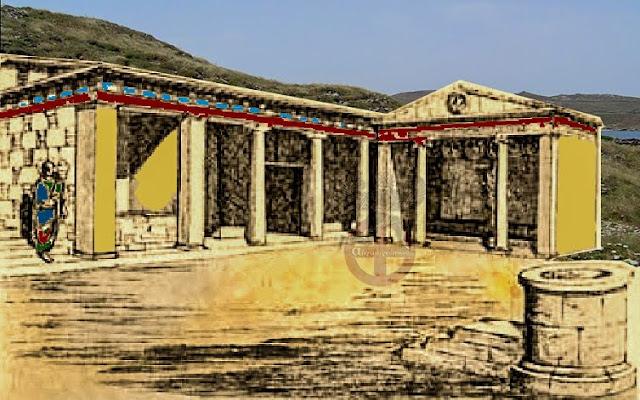 Το μνημείο στο ιερό των Καβείριων θεών στην Ιερά Νήσο Δήλο το Μιθριδάτου ΣΤ' δεξιά με το αέτωμα του Διός και την μορφή του σε κυκλικό μετάλλιο ,σε ανακατασκευή από τον Chapouthier 1935)