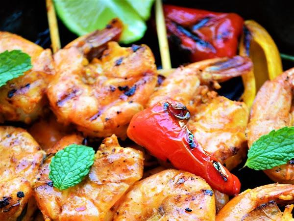 Basil Sriracha Grilled Shrimps Recipe | The Best Grilled Shrimp Recipe | Basil Sriracha & Garlic Grilled Prawns Recipe | Grilled Shrimp with Basil, Sriracha, Smoked Paprika & Garlic.