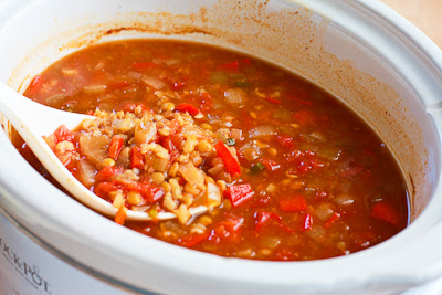 African Inspired Vegetarian Crockpot Soup with Peanut Butter, Chiles, Brown Rice, and Lentils found on KalynsKitchen.com