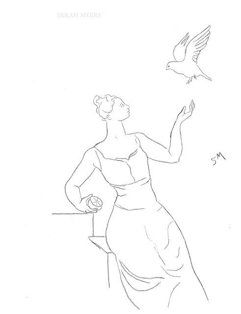drawing, art, arte, sketch, line, sarah, myers, dibujo, dessin, dove, figure, woman, figurative, contemporary, modern, orange, fruit, simple, minimal, minimalism, minimalist, pigeon, paloma, bird, fruit, fashion, line-drawing, design, style
