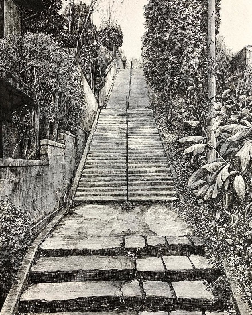 12-Staircase-ibsuki-Urban-Architectural-Pen-Drawings-www-designstack-co