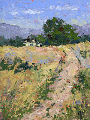 art painting country open land landscape abstract palette knife