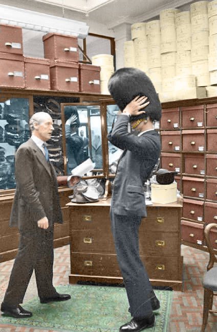 A Guards Officer Is Fitted For A Bearskin 1957