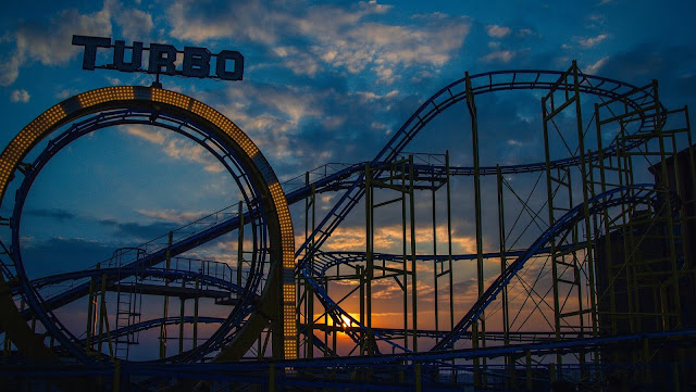 Roller Coaster Wallpaper, sunset, dark