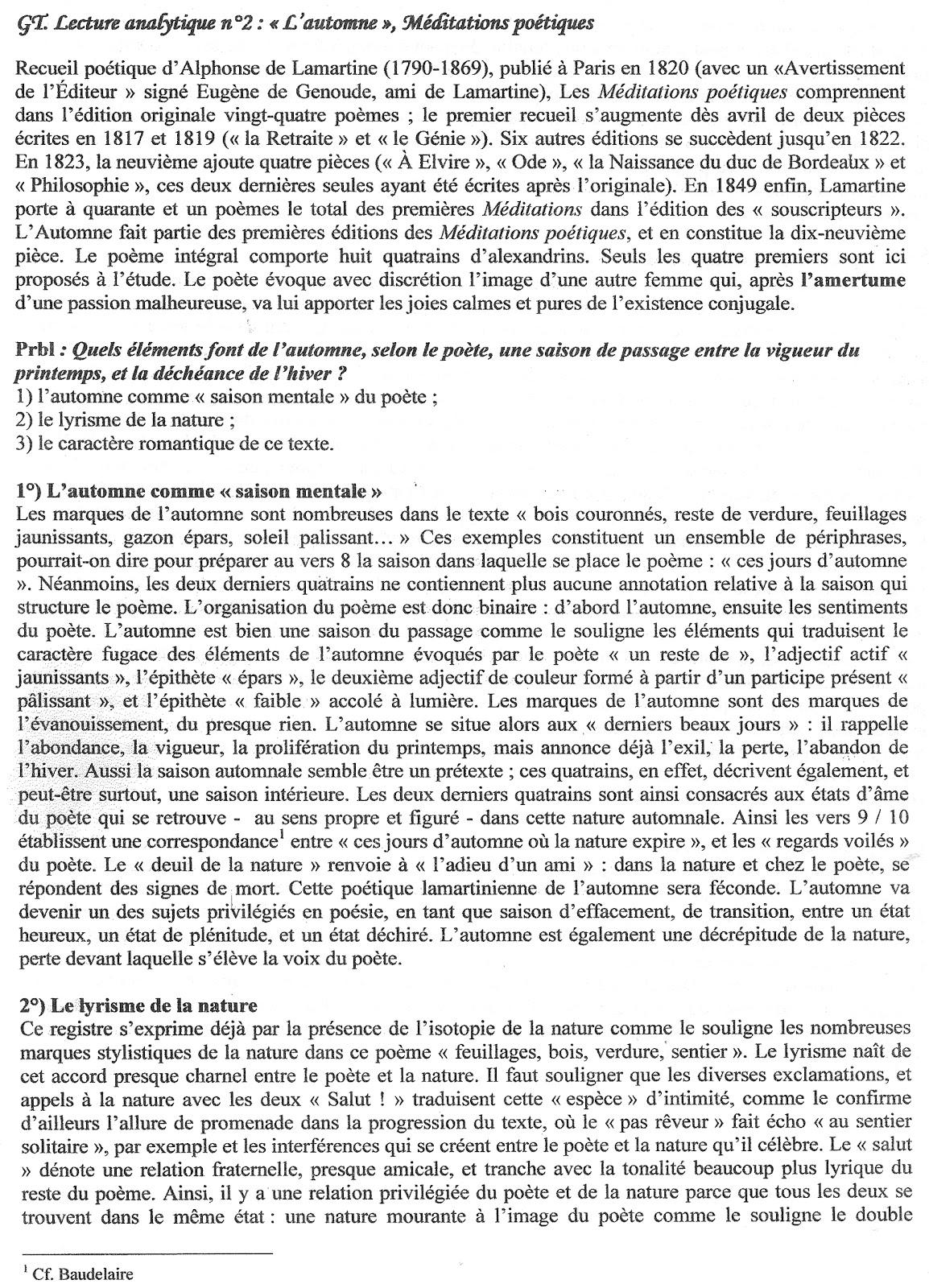 lautomne lamartine dissertation