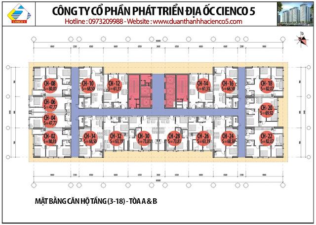 Mặt bằng căn hộ tầng 3-18 tòa HH02A&B B2.1 Thanh Hà Mường Thanh