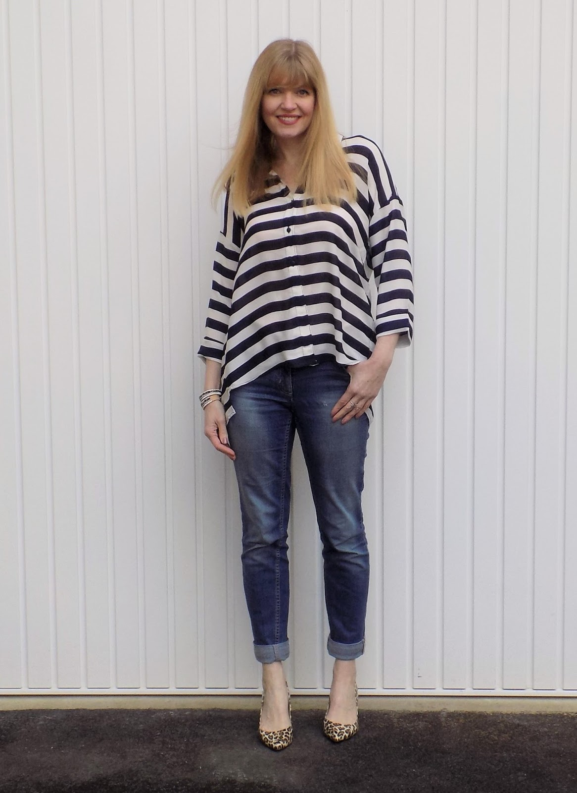 Navy Striped Shirt with Boyfriend Jeans and Leopard Print Shoes ...