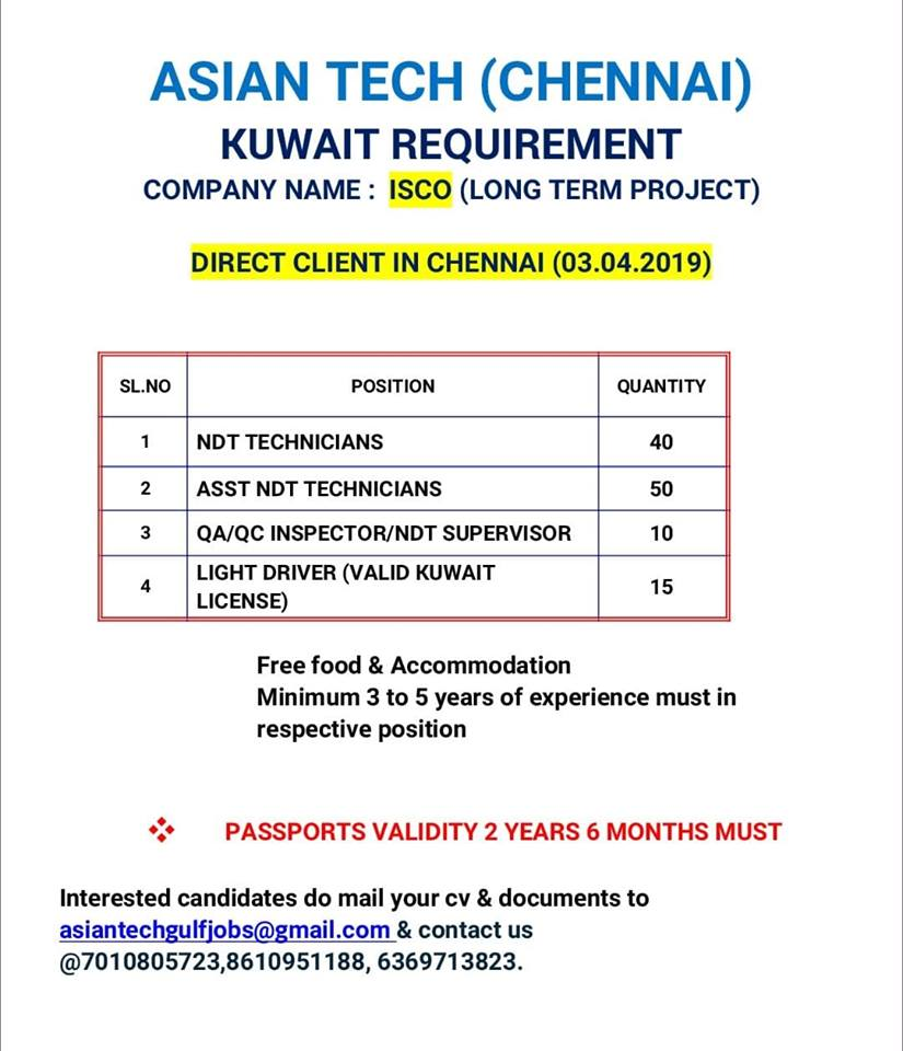 MIDDLE EAST REQUIREMENTS - NDT VACANCIES