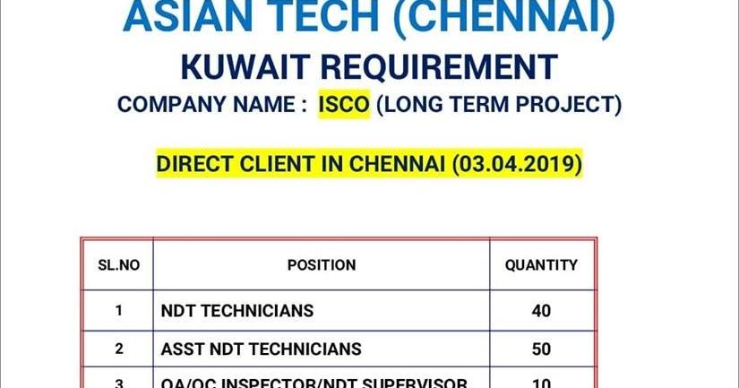 KUWAIT NDT REQUIREMENTS - NDT VACANCIES