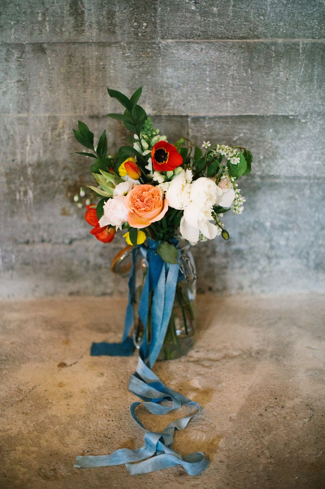 Djúpavík Iceland Wedding Bouquet Coral Blue