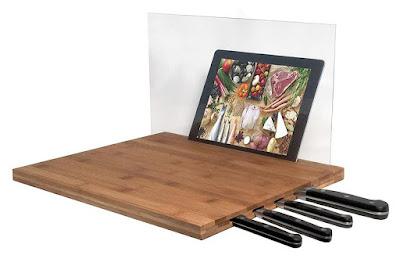 iPad and Knife Storage Bamboo Cutting Board