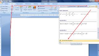 menulis rumus matematika di ms word