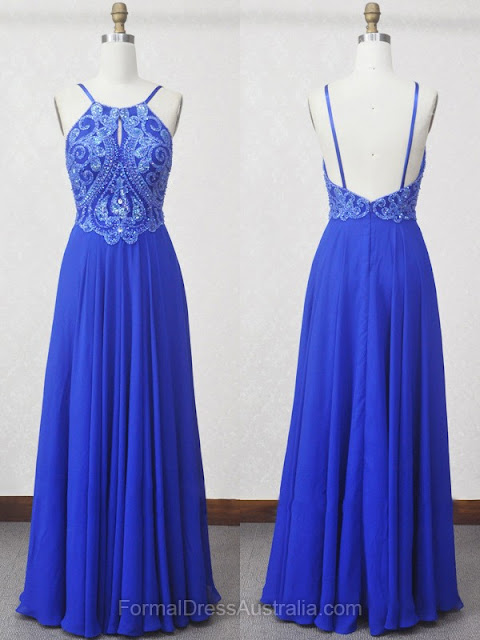 A-line Chiffon Scoop Neck with Beading Floor-length Formal Dresses