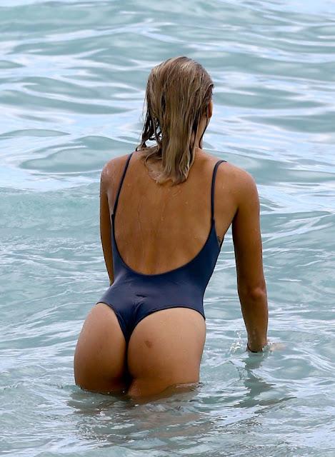 Selena Weber in Blue Swimsuit