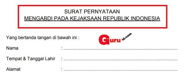 gambar surat pernyataan mengabdi pada kejaksaaan Ri