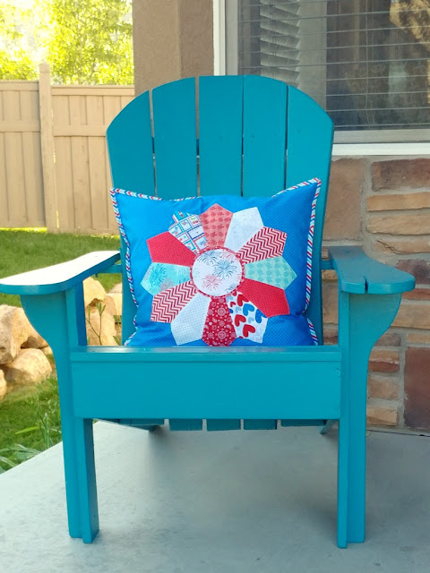 colorful chair with patriotic dresden pillow