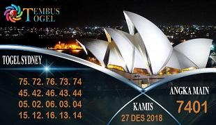 Prediksi Angka Togel Sidney Kamis 27 Desember 2018