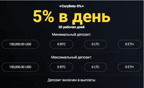 Инвестиционные планы CoryBets 1