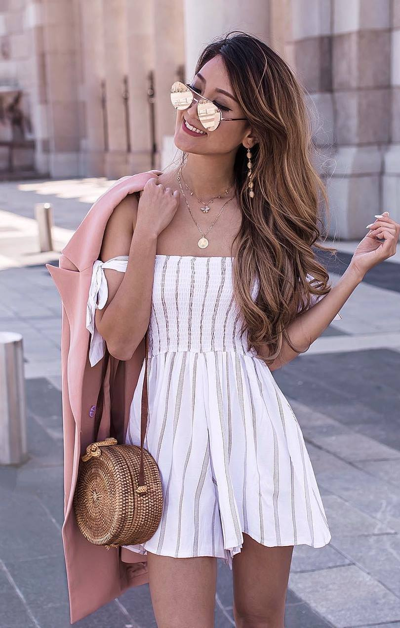 pretty cool outfit / straw bag + striped romper + blush coat