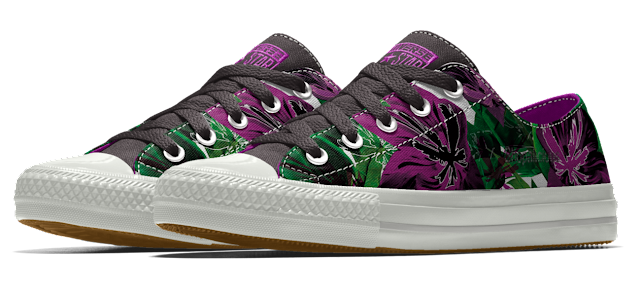 Customize a pair of @Converse in dark tropical colors for $85!
