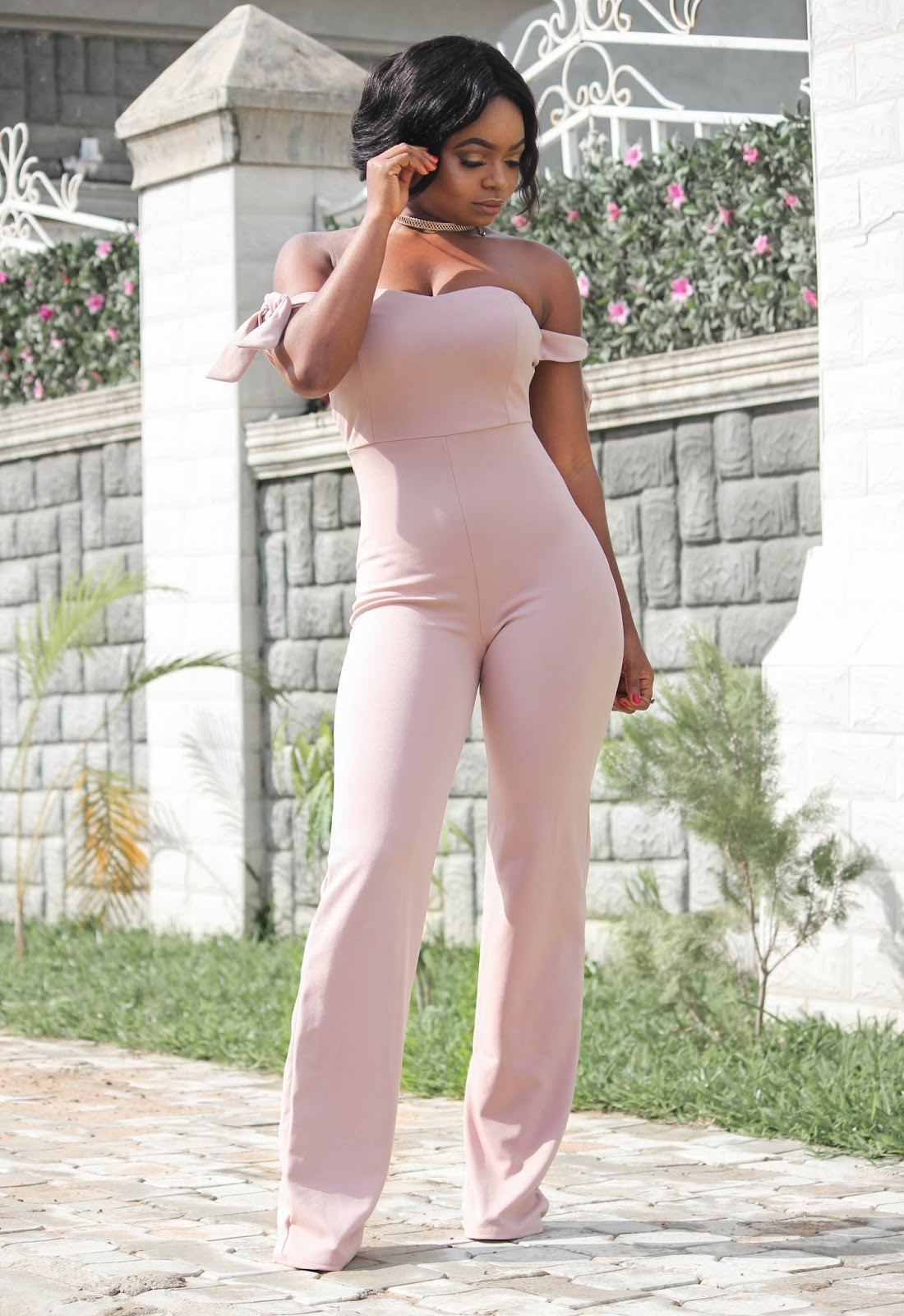 NUDE JUMPSUIT - Hot Miami Styles Nude Off Shoulder Jumpsuit