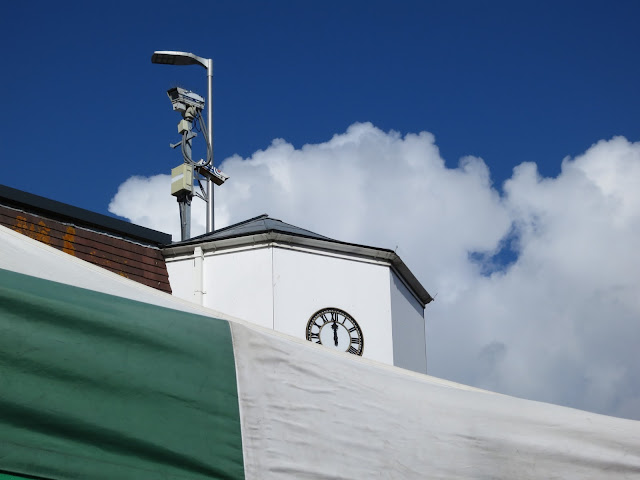 CCTV camera on clock tower in market