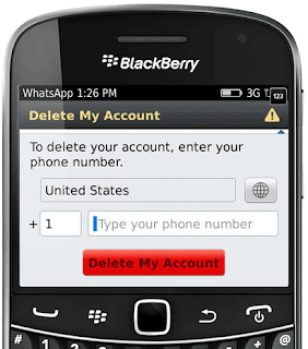 Delete WhatsApp on BlackBerry