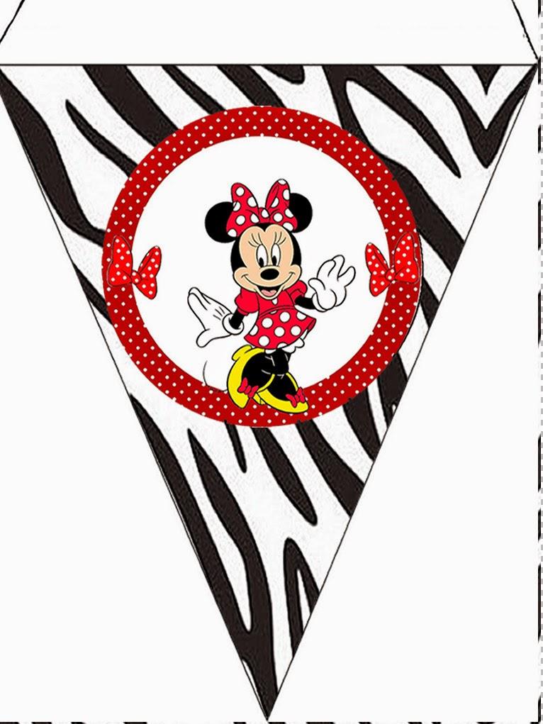Banderines para Imprimir Gratis de Minnie Cebra y Rojo.