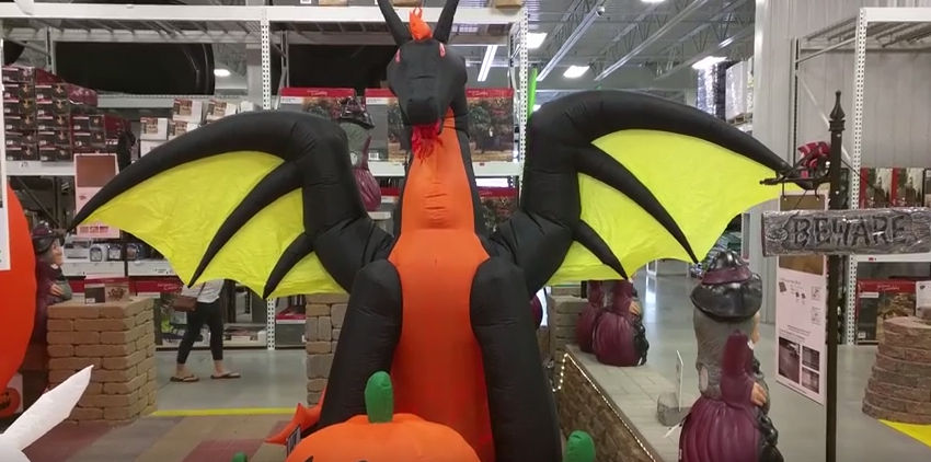 Menards Halloween Inflatable Light-Up Animated Dragon