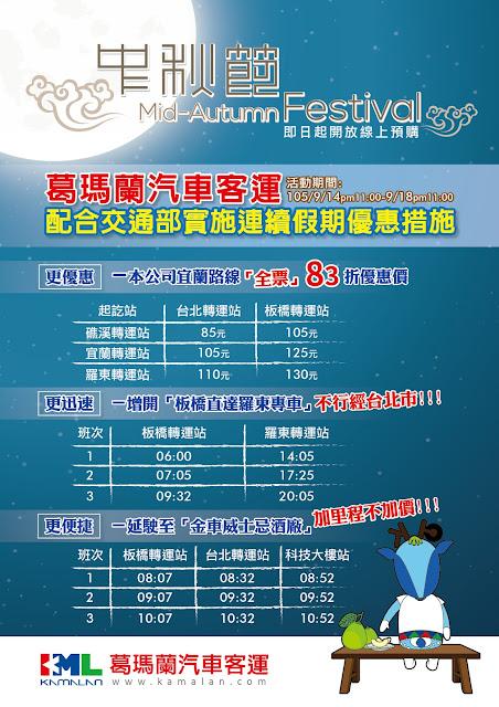 中秋連續假期葛瑪蘭客運 83折優惠歡迎您!   蘭陽新聞網 LanyangNews